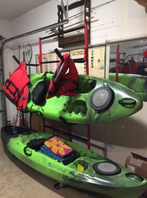 Three Boat Freestanding Kayak Storage