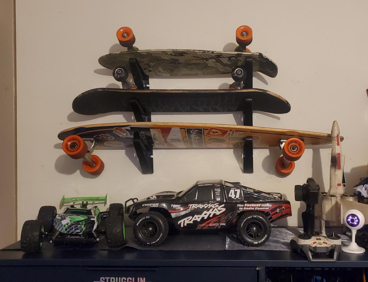 Skateboard Deck Wall Display Rack Shop or Home Use CNC Cut Longboard Snowboard